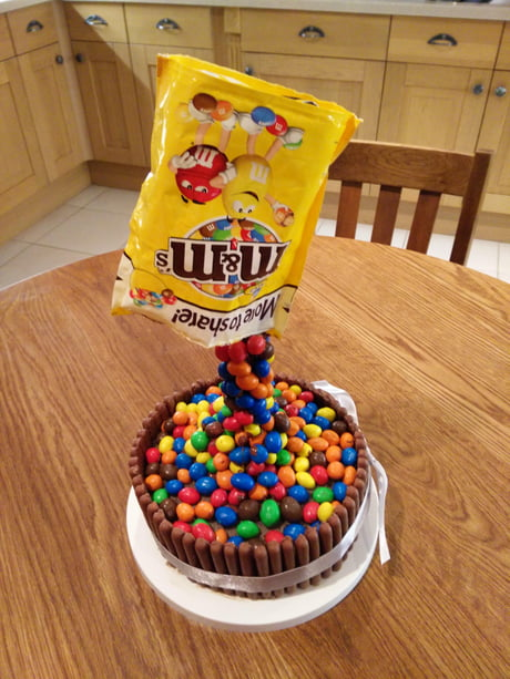 "Knowing my love for peanut M&Ms, my wife and daughter decided to make me this ""pouring M&Ms"" birthday cake! I ate it...all of it..."