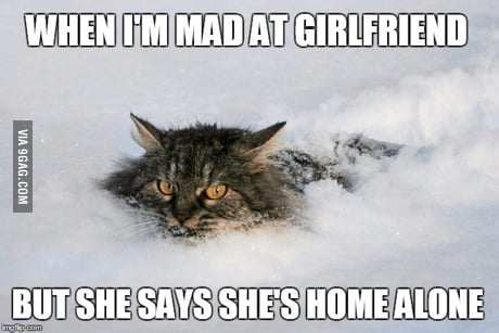 When I M Mad At Girlfriend But She Says She S Home Alone 9gag