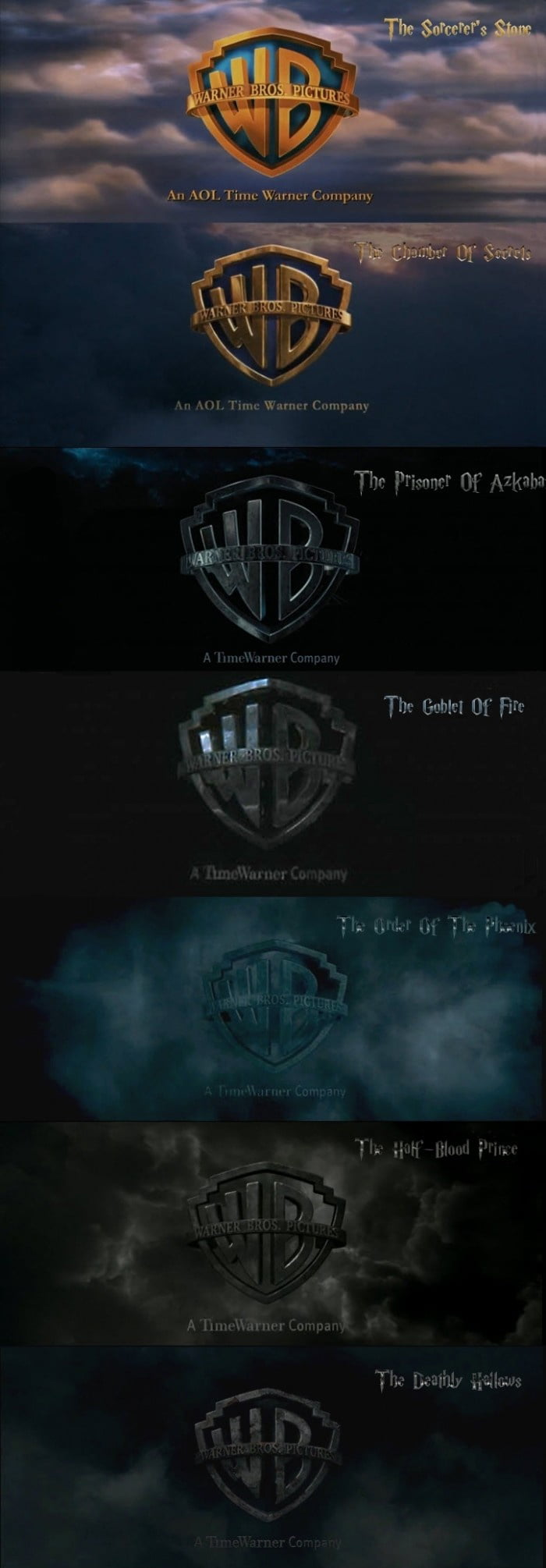 The best Warner Bros. logo evolution in a film series.