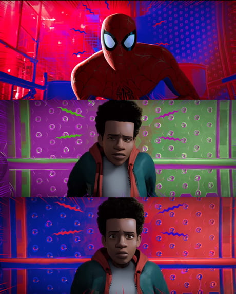 In Spider Man Into The Spider Verse 2018 Miles Spider Sense Changes From A Purple And Green Color Scheme Like His Uncle The Prowler To A Red And Blue Scheme After Meeting With