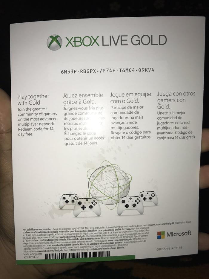 Xbox month free 12 live codes Xbox LIVE