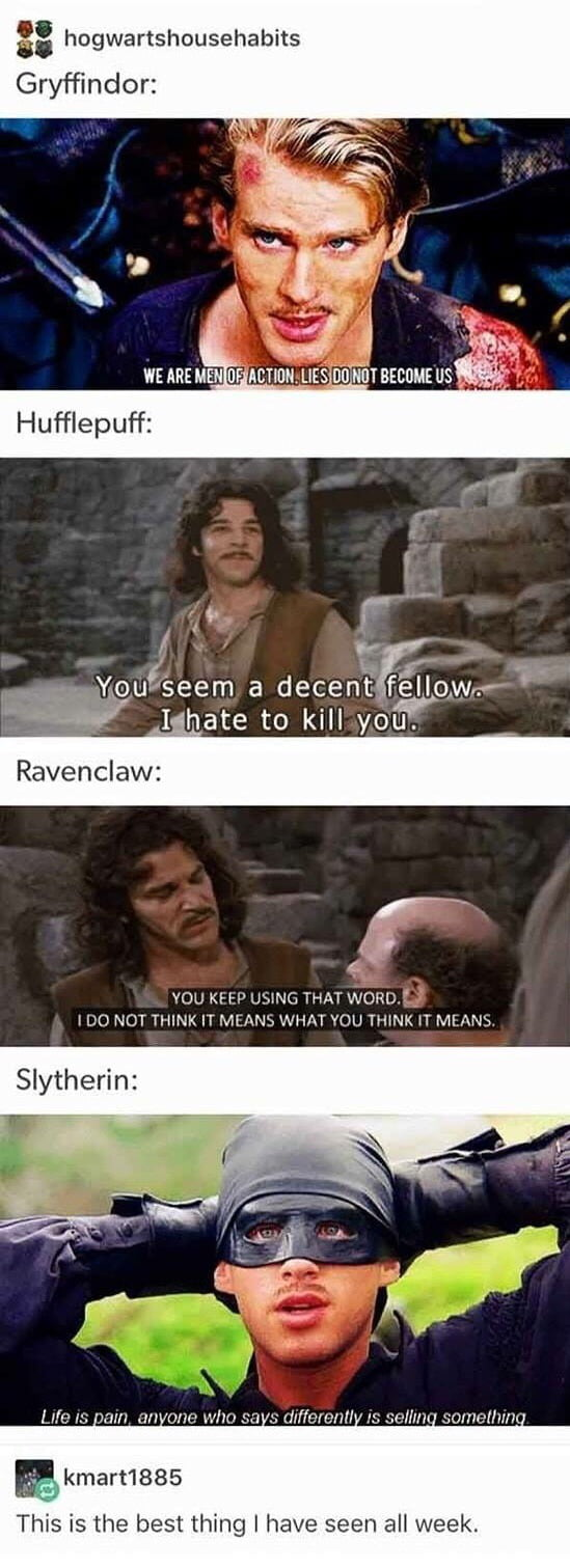 "Summing up each Hogwarts House with ""The Princess Bride ..."