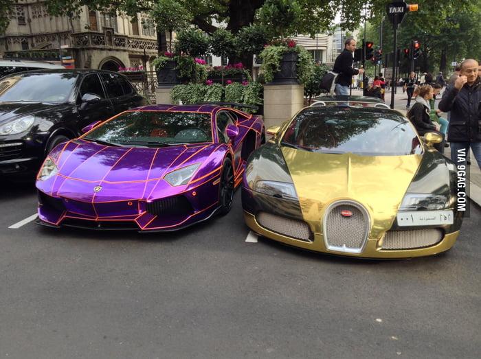Because The Golden Bugatti Looked So Nice Next To The Velvet Ferrari