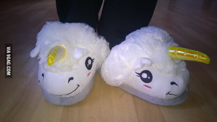 a6df00b3721 Unicorn slippers. Best christmas gift ever!! - 9GAG