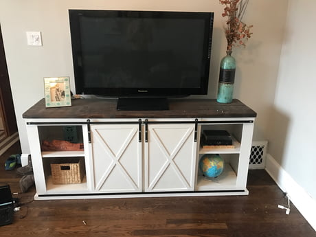 I made this tv stand, costed $120 in materials. The metal framing was the most expensive thing. 6 foot long and 2 foot wide.
