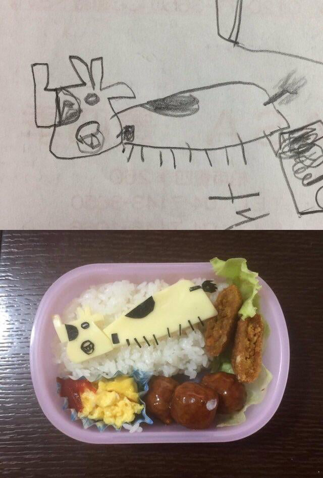 Dad Turns His Daughters Drawing Into Bento Box