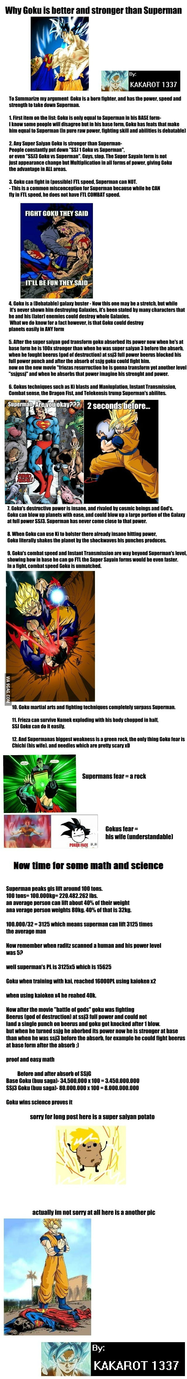goku vs superman the truth that hurts dc fanboys 9gag