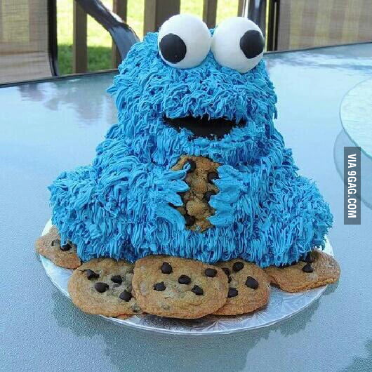 cookie monster cake cookie cake 9gag 3039