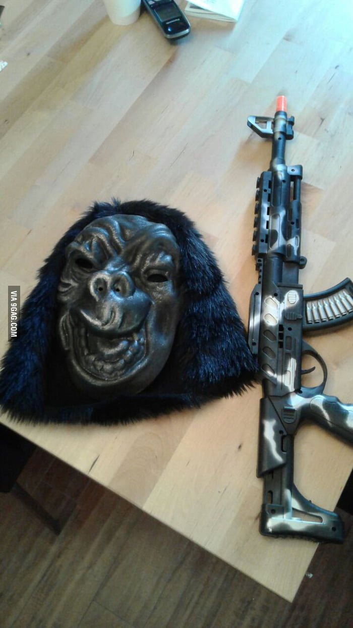 Cheap ass Halloween Costume 101, Gorilla mask+plastic assault ...