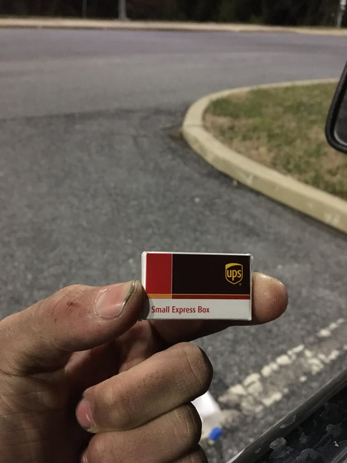 I work at UPS and found this tiny package  - 9GAG