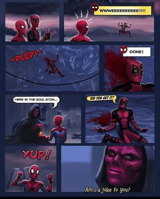 Should be Deadpool go to find Soul Stones instead of Black Widow - 9GAG