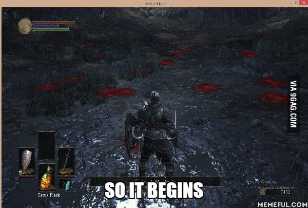 Playing dark souls III when suddenly (red dots are blood