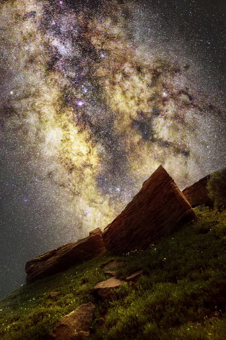 The Milky Way's core over some rocks in Vail, CO