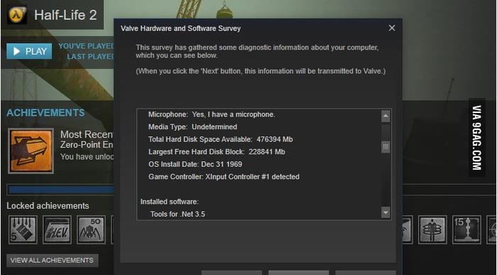Go home steam survey, your drunk (windows 10) - 9GAG