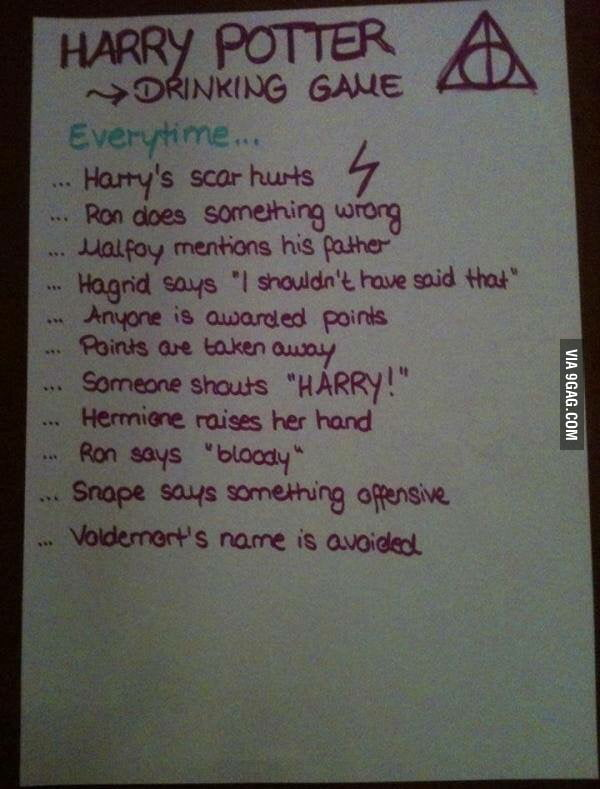 Harry Potter Drinking Game Shots