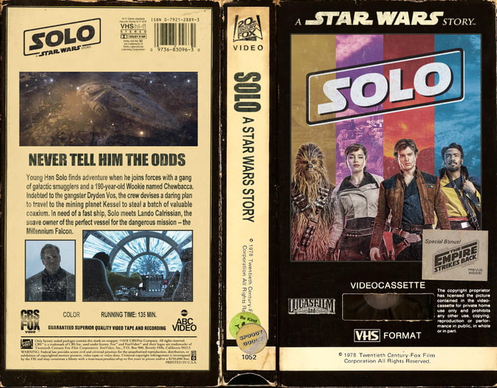 Solo: A Star Wars Story - VHS Cover Art - 9GAG