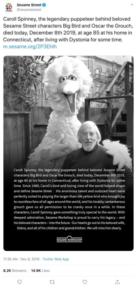 Caroll Spinney Sesame Street Big Bird Puppeteer Dies At