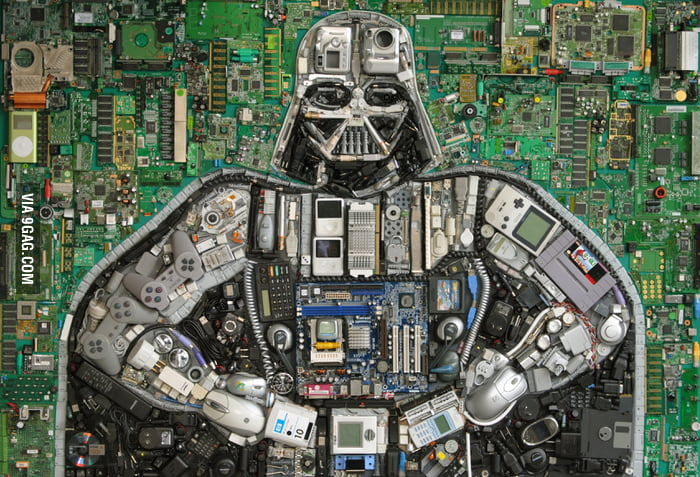 Darth Vader made of technology spare parts by Elisa Insua