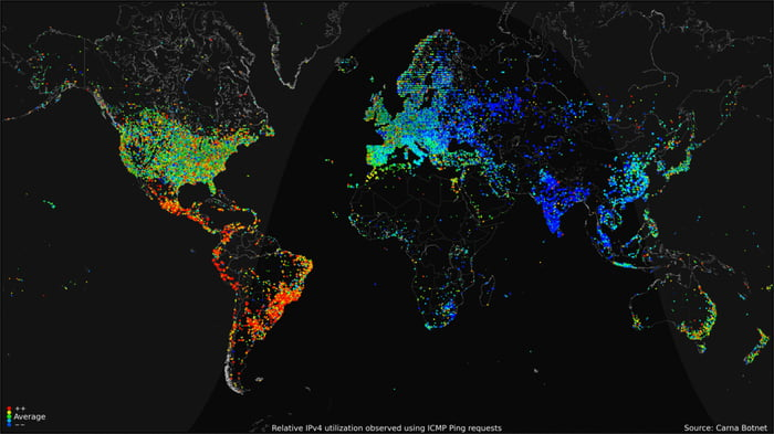 Day/Night cycle of uses of the internet.