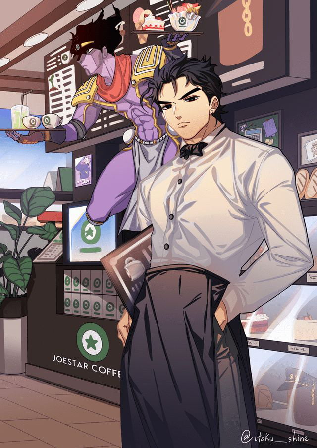 Jotaro working part time job to pay his marine biology