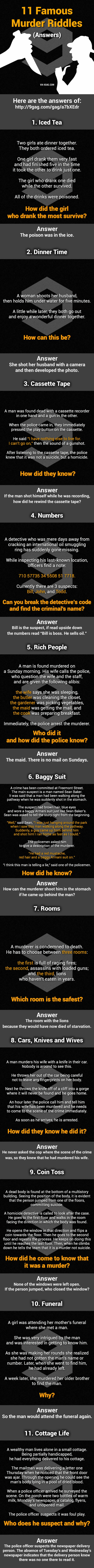Answers: 11 Murder Mystery Riddles  Can You Solve Them All? - 9GAG