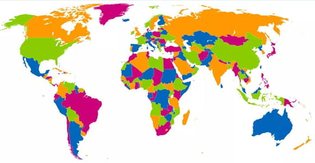 Best 30 world map fun on 9gag you can paint the world map with four colors so that neighboring countries havent the same color gumiabroncs Choice Image