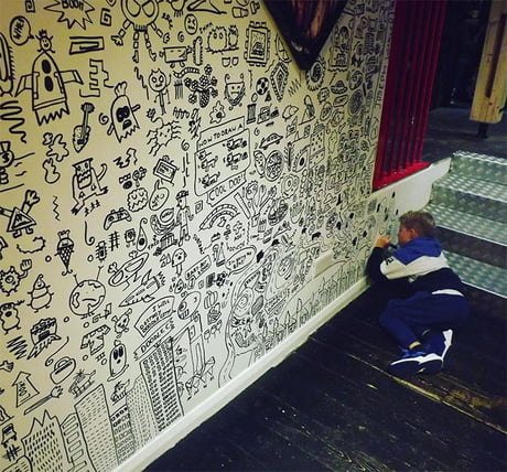 Image result for 9-Year-Old Kid Who Kept Getting In Trouble For Doodling In Class Gets A Job Decorating A Restaurant With His Drawings