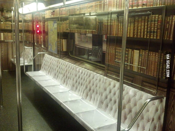 The inside of the train in NY looks like a library
