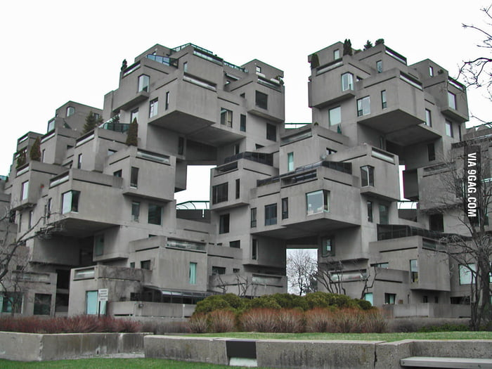 I have immense respect for whoever did the structural design for this back in the 1960s. Habitat 67, Montreal, Canada