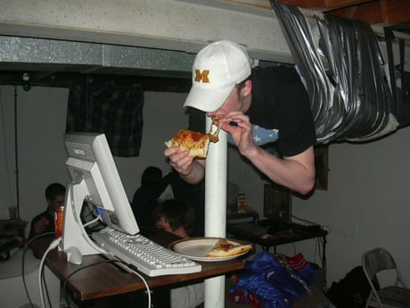 """The infamous """"LAN party duct tape ceiling guy"""", from another angle."""