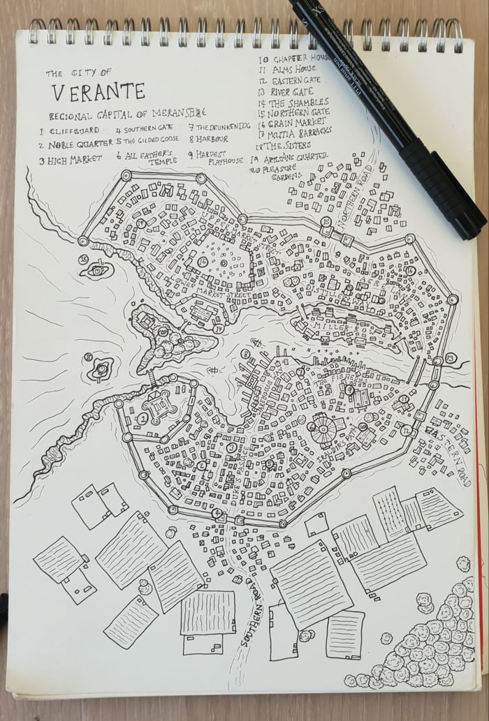 Dnd pen and paper city map  (drawn on train journey so