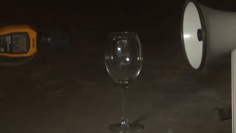 This is how megaphones can break a glass.