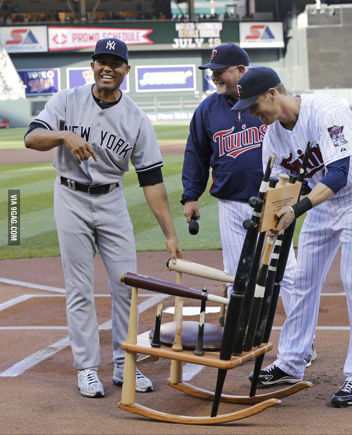 Gift For The Yankee Pitcher A Rocking Chair Made With Bats He Has Broken Over