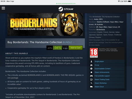 Amidst all the Borderlands 3 hype, steam is giving a massive