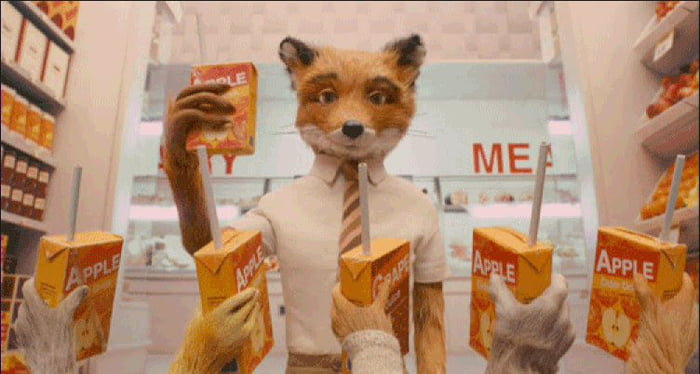 At The End Of The Fantastic Mr Fox Everyone Toasts With Apple Juice Except Ash Because He S Different 9gag