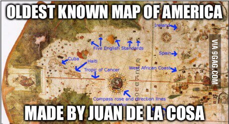 Piri Reis map is from 1513, this map is drawn in 1500. - 9GAG