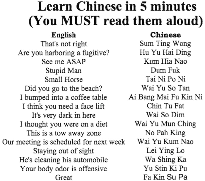 Learn Chinese in 5 minutes - 9GAG