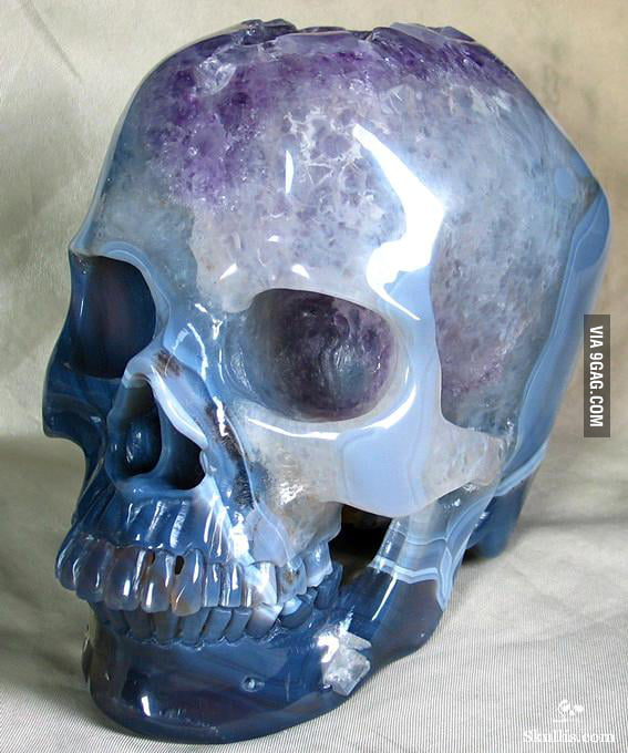 Life sized skull carved out of a geode