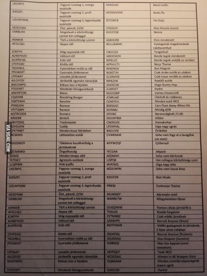I found my GTA <b>San Andreas cheat codes</b> the feelings. - 9GAG