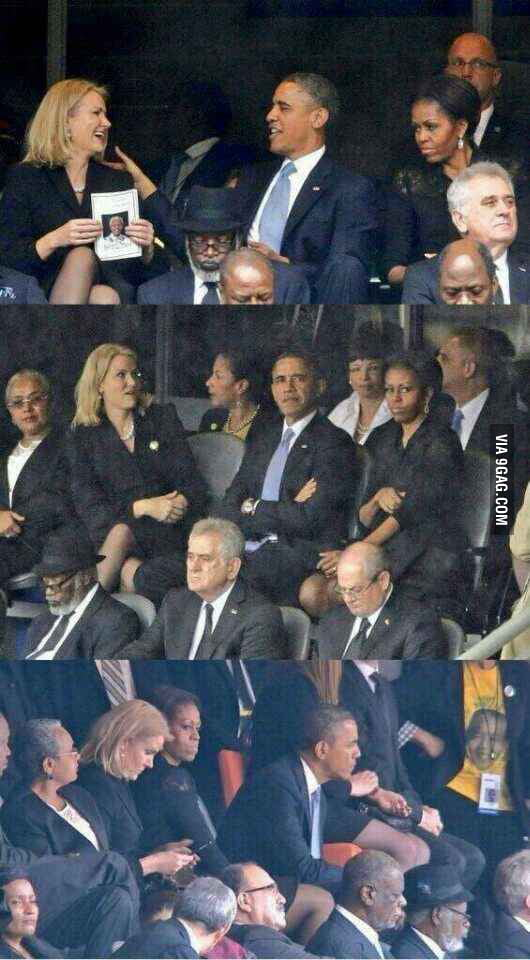 Obama may be leader of the 'free world', but when your wife tells you to switch seats, you switch.