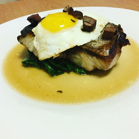 Pan Seared Bluefish, Swiss Chard, Duck Bacon, Mushroom Broth, Pheasant Egg