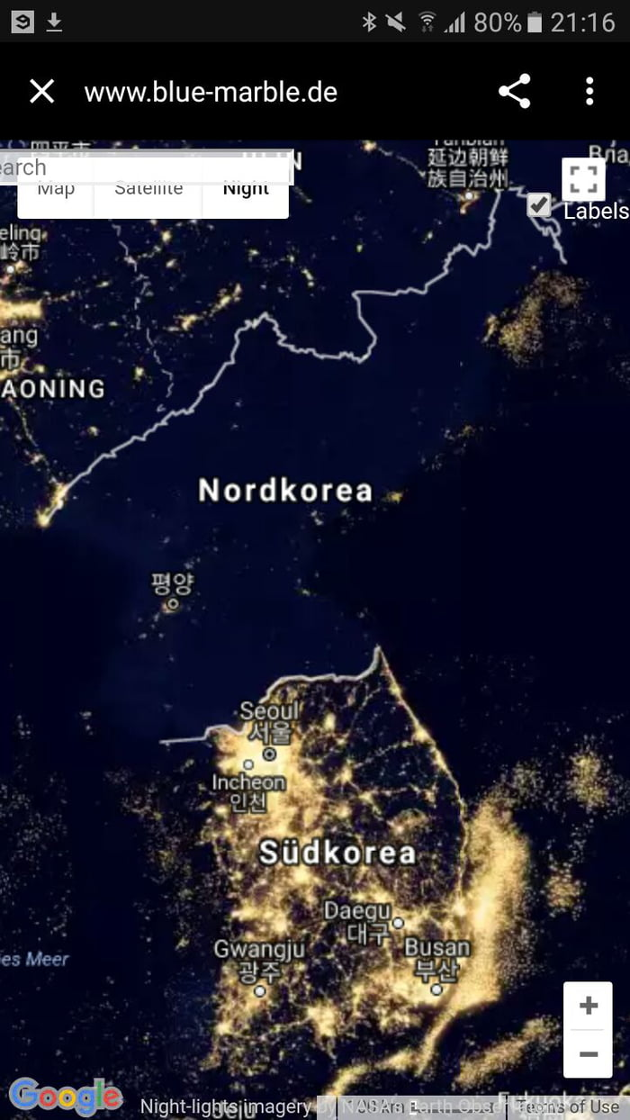 North Korea Vs South Korea At Night 9gag