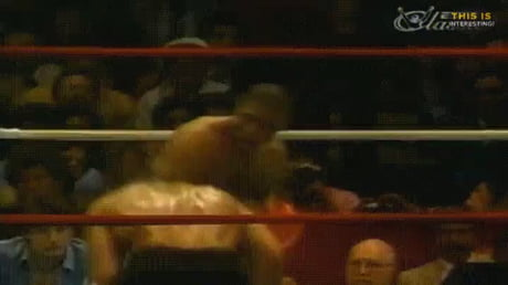 Mike Tyson dodges a flurry of blows and then ends it