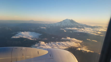 Mount Rainier this evening while flying home.