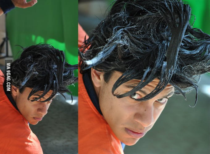 """Googled """"Real life Goku hair"""" was not disappointed... - 9GAG"""