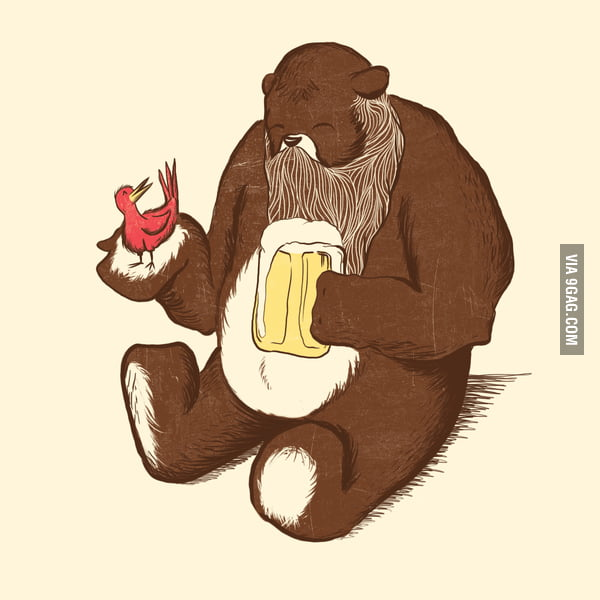 Bearded Bear Drinking Beer With A Bird 9gag