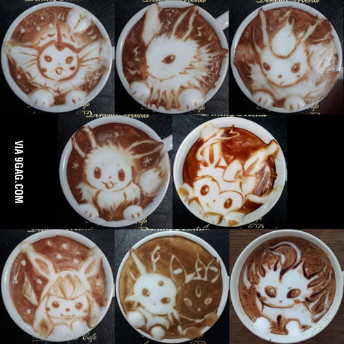 Výsledek obrázku pro coffee art pokemon