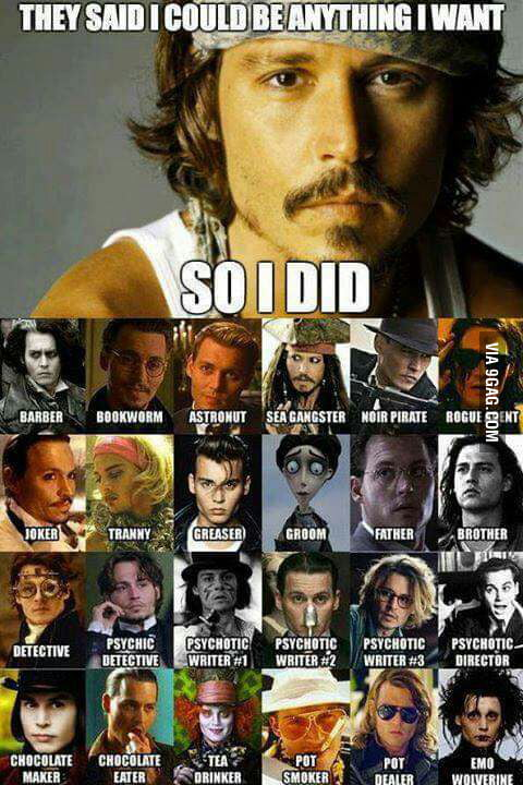 Johnny Depp Always Plays The Same Character 9gag