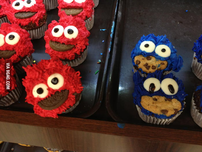 New Elmo and Cookie Monster cupcakes at the supermarket