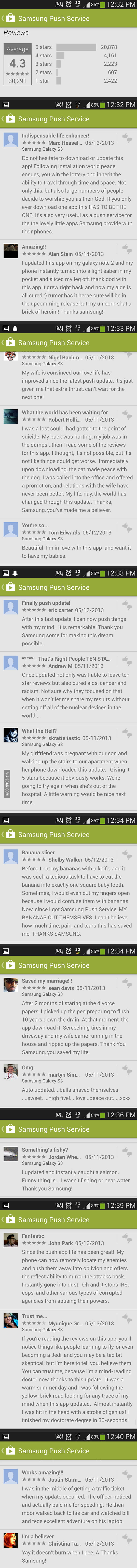 Reviews for Samsung Push Service App.